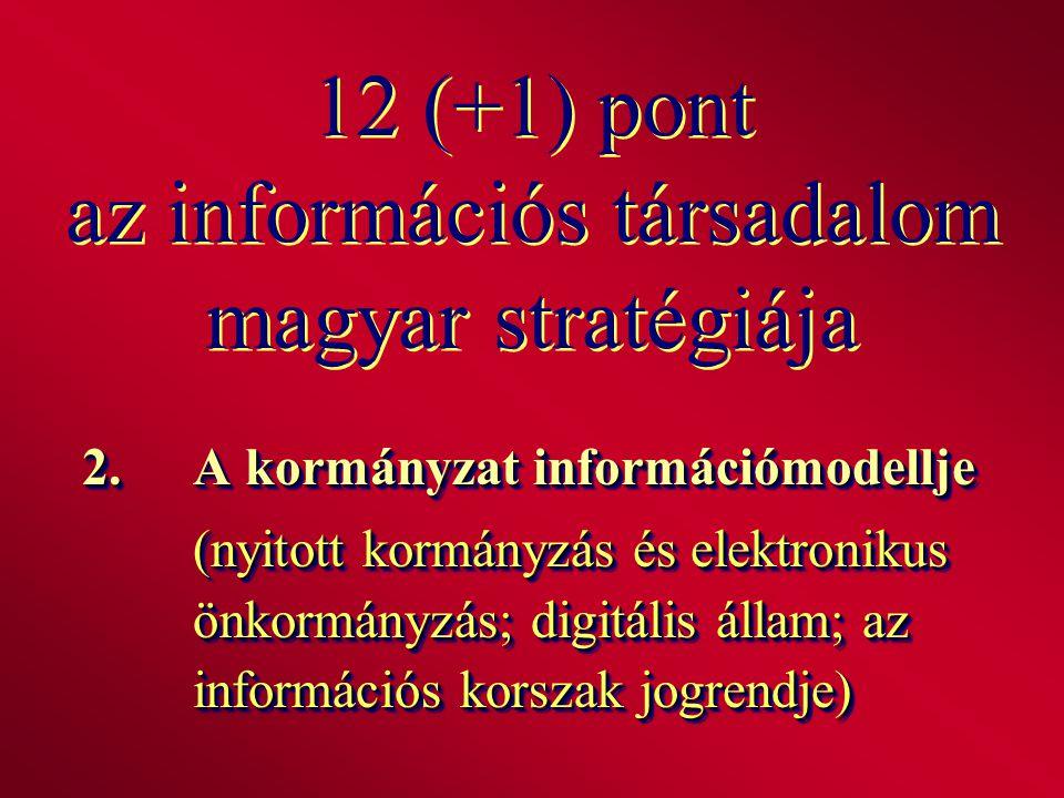 12 (+1) pont az információs társadalom magyar stratégiája 2.A kormányzat információmodellje (nyitott kormányzás és elektronikus önkormányzás; digitáli