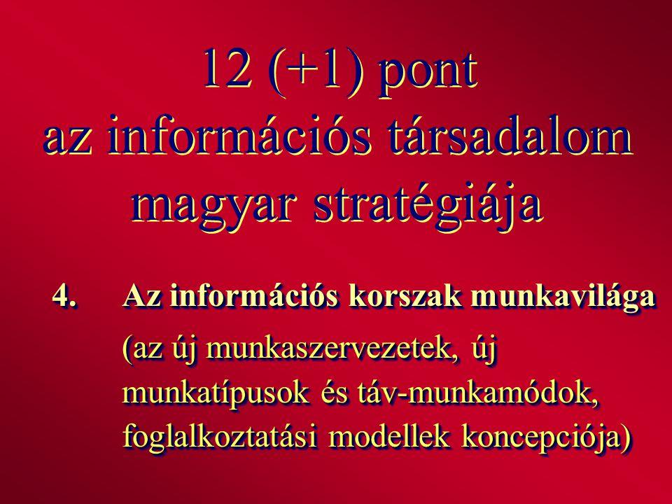 12 (+1) pont az információs társadalom magyar stratégiája 4.Az információs korszak munkavilága (az új munkaszervezetek, új munkatípusok és táv-munkamó