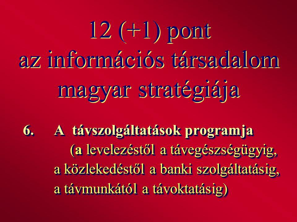 12 (+1) pont az információs társadalom magyar stratégiája 6.A távszolgáltatások programja (a levelezéstől a távegészségügyig, a közlekedéstől a banki