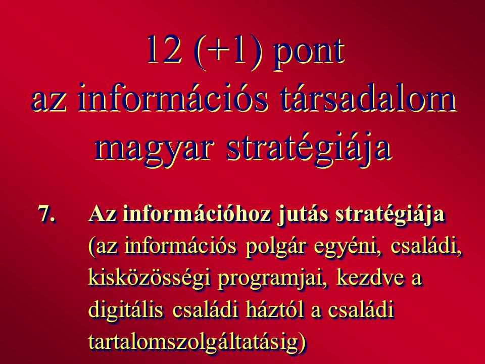 12 (+1) pont az információs társadalom magyar stratégiája 7.Az információhoz jutás stratégiája (az információs polgár egyéni, családi, kisközösségi pr