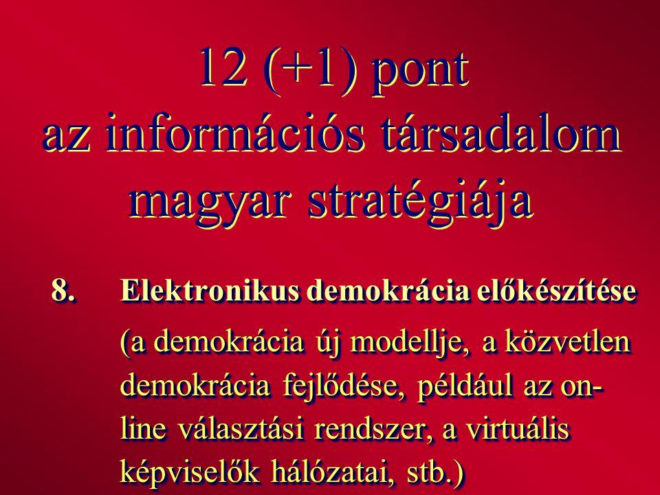 12 (+1) pont az információs társadalom magyar stratégiája 8. Elektronikus demokrácia előkészítése (a demokrácia új modellje, a közvetlen demokrácia fe