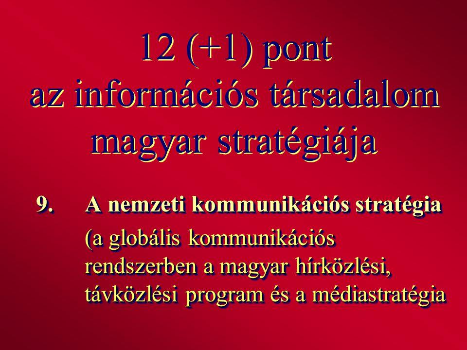 12 (+1) pont az információs társadalom magyar stratégiája 9.A nemzeti kommunikációs stratégia (a globális kommunikációs rendszerben a magyar hírközlés