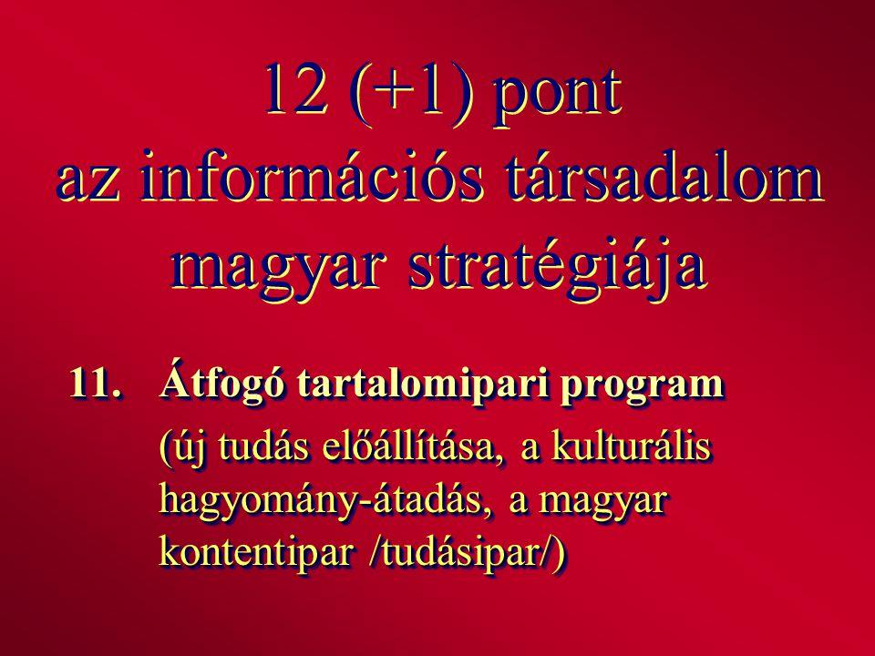 12 (+1) pont az információs társadalom magyar stratégiája 11.Átfogó tartalomipari program (új tudás előállítása, a kulturális hagyomány-átadás, a magy