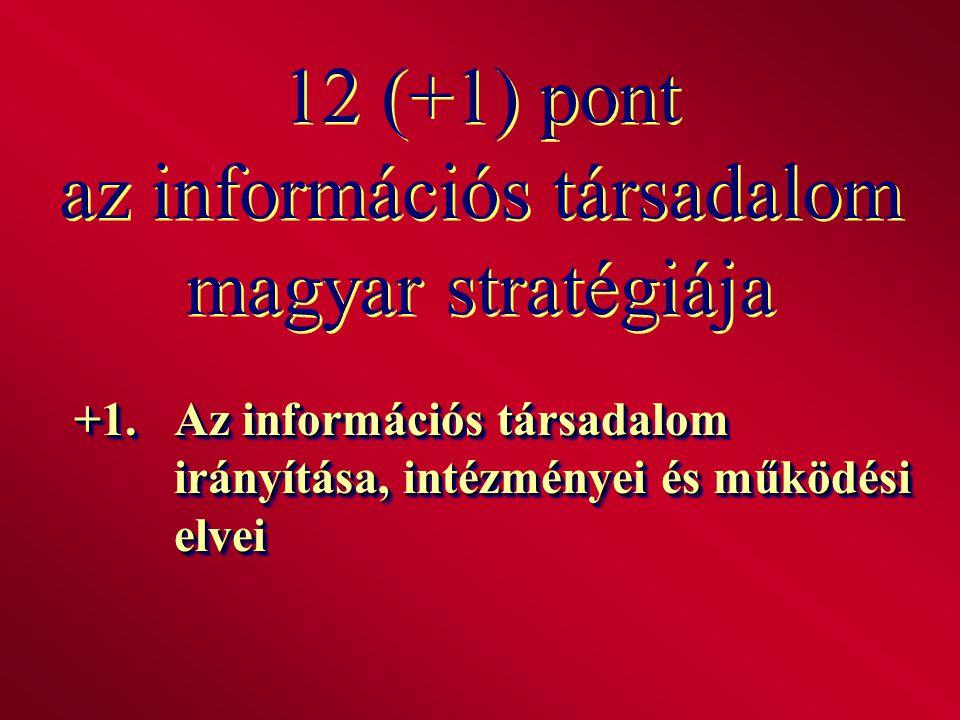 12 (+1) pont az információs társadalom magyar stratégiája +1.Az információs társadalom irányítása, intézményei és működési elvei