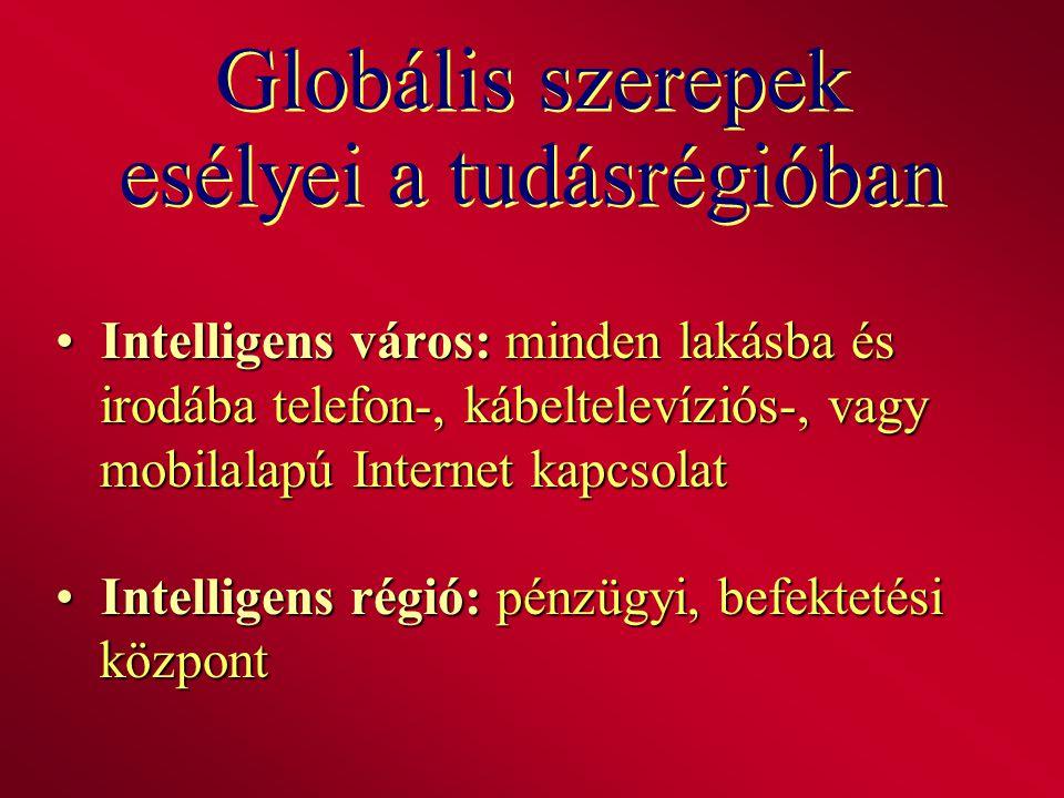 Globális szerepek esélyei a tudásrégióban Intelligens város: minden lakásba és irodába telefon-, kábeltelevíziós-, vagy mobilalapú Internet kapcsolat