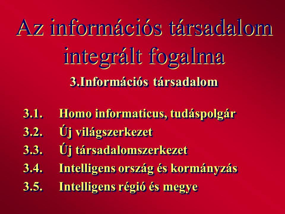 Az információs társadalom integrált fogalma 3.Információs társadalom 3.1.Homo informaticus, tudáspolgár 3.2.Új világszerkezet 3.3.Új társadalomszerkez