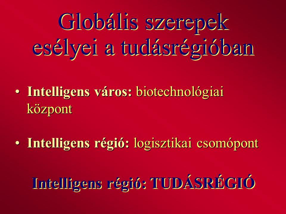 Globális szerepek esélyei a tudásrégióban Intelligens város: biotechnológiai központ Intelligens város: biotechnológiai központ Intelligens régió: log