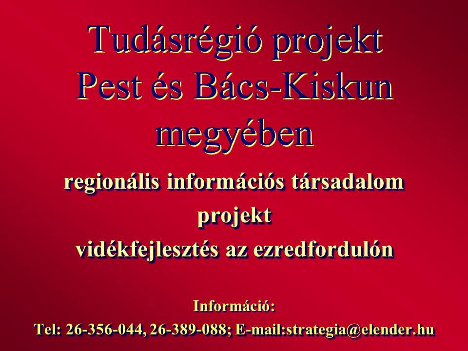 Tudásrégió projekt Pest és Bács-Kiskun megyében regionális információs társadalom projekt vidékfejlesztés az ezredfordulón Információ: Tel: 26-356-044