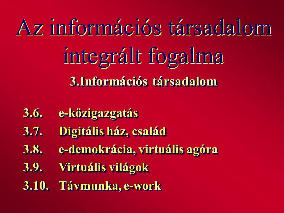 Az információs társadalom integrált fogalma 3.Információs társadalom 3.6.e-közigazgatás 3.7.Digitális ház, család 3.8.e-demokrácia, virtuális agóra 3.