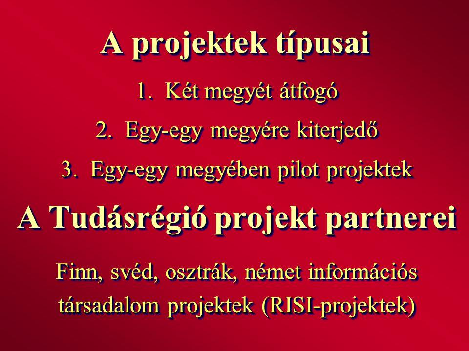 A projektek típusai 1. Két megyét átfogó 2. Egy-egy megyére kiterjedő 3. Egy-egy megyében pilot projektek A Tudásrégió projekt partnerei Finn, svéd, o