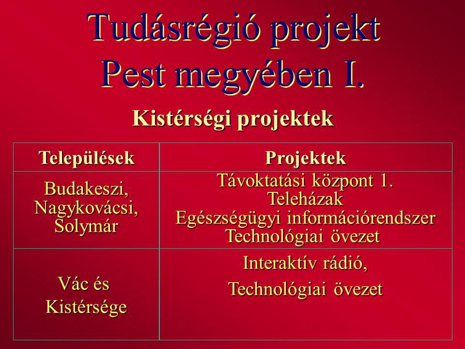 Tudásrégió projekt Pest megyében I. Kistérségi projektek TelepülésekProjektek Budakeszi,Nagykovácsi,Solymár Távoktatási központ 1. Teleházak Egészségü