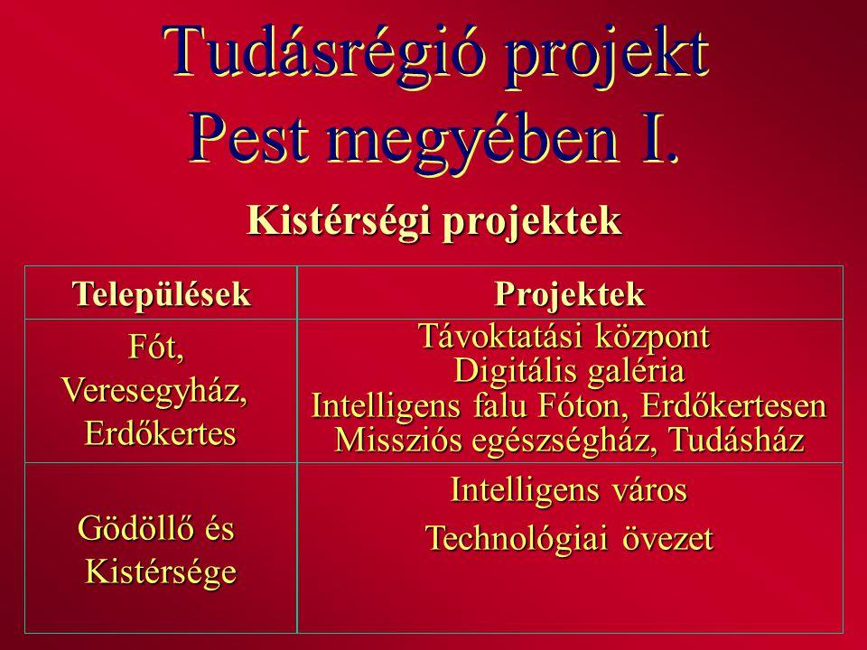 Tudásrégió projekt Pest megyében I. Kistérségi projektek TelepülésekProjektek Fót,Veresegyház,Erdőkertes Távoktatási központ Digitális galéria Intelli
