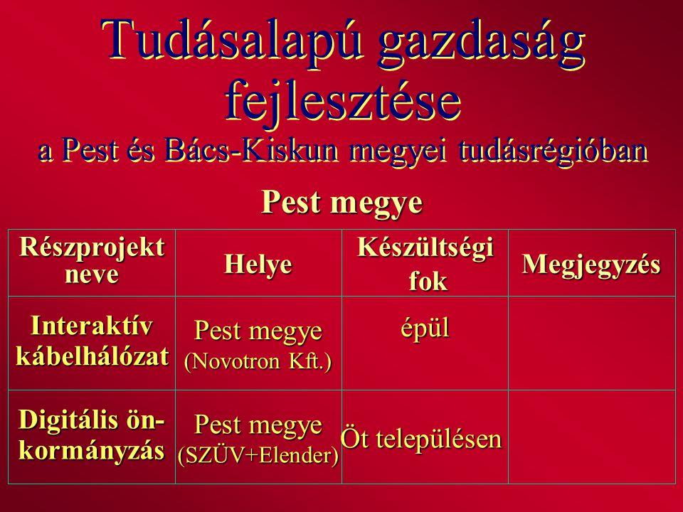 Tudásalapú gazdaság fejlesztése a Pest és Bács-Kiskun megyei tudásrégióban Pest megye RészprojektneveHelyeKészültségi fok fokMegjegyzés Interaktívkábe