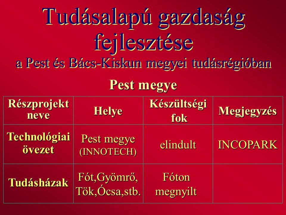 Tudásalapú gazdaság fejlesztése a Pest és Bács-Kiskun megyei tudásrégióban Pest megye RészprojektneveHelyeKészültségi fok fokMegjegyzés Technológiaiöv