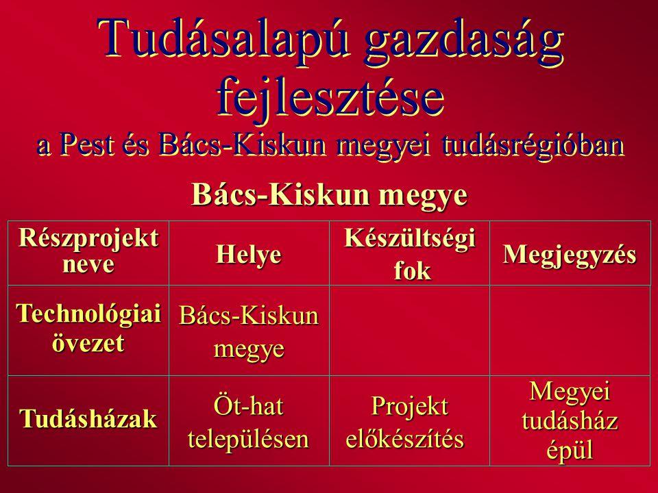 Tudásalapú gazdaság fejlesztése a Pest és Bács-Kiskun megyei tudásrégióban Bács-Kiskun megye RészprojektneveHelyeKészültségi fok fokMegjegyzés Technol