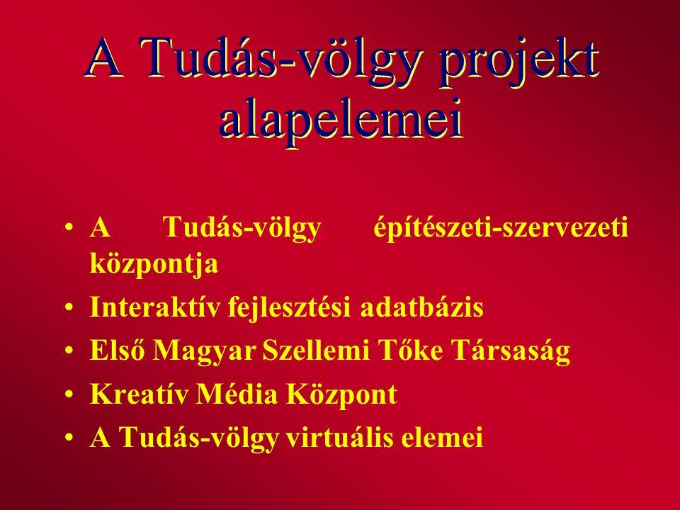 A Tudás-völgy építészeti-szervezeti központja Interaktív fejlesztési adatbázis Első Magyar Szellemi Tőke Társaság Kreatív Média Központ A Tudás-völgy