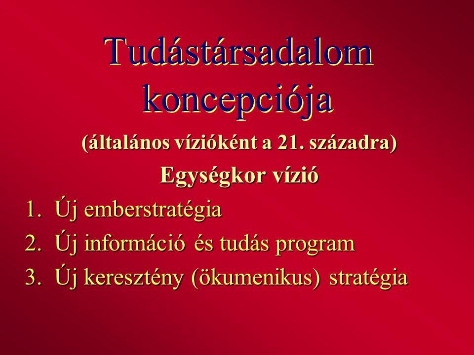Tudástársadalom koncepciója (általános vízióként a 21. századra) Egységkor vízió 1. Új emberstratégia 2. Új információ és tudás program 3. Új kereszté