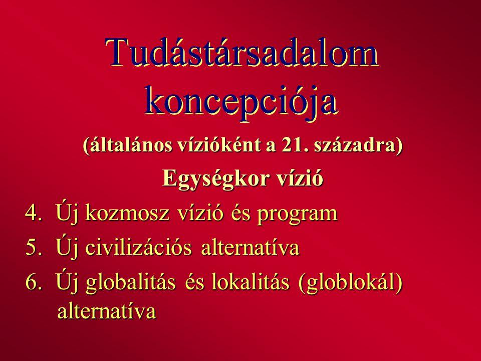 Tudástársadalom koncepciója (általános vízióként a 21. századra) Egységkor vízió 4. Új kozmosz vízió és program 5. Új civilizációs alternatíva 6. Új g