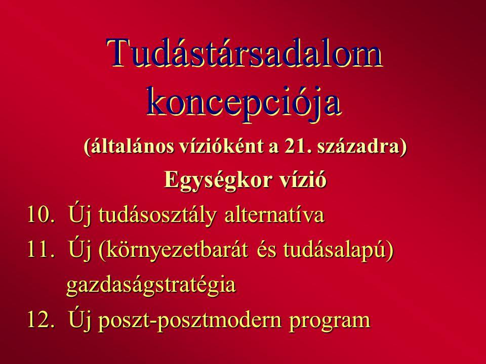 Tudástársadalom koncepciója (általános vízióként a 21. századra) Egységkor vízió 10. Új tudásosztály alternatíva 11. Új (környezetbarát és tudásalapú)