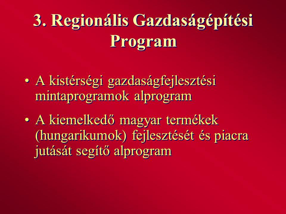 3. Regionális Gazdaságépítési Program A kistérségi gazdaságfejlesztési mintaprogramok alprogram A kiemelkedő magyar termékek (hungarikumok) fejlesztés
