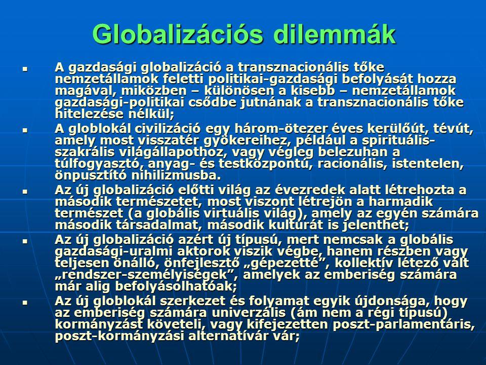 Globalizációs dilemmák A gazdasági globalizáció a transznacionális tőke nemzetállamok feletti politikai-gazdasági befolyását hozza magával, miközben – különösen a kisebb – nemzetállamok gazdasági-politikai csődbe jutnának a transznacionális tőke hitelezése nélkül; A gazdasági globalizáció a transznacionális tőke nemzetállamok feletti politikai-gazdasági befolyását hozza magával, miközben – különösen a kisebb – nemzetállamok gazdasági-politikai csődbe jutnának a transznacionális tőke hitelezése nélkül; A globlokál civilizáció egy három-ötezer éves kerülőút, tévút, amely most visszatér gyökereihez, például a spirituális- szakrális világállapothoz, vagy végleg belezuhan a túlfogyasztó, anyag- és testközpontú, racionális, istentelen, önpusztító nihilizmusba.