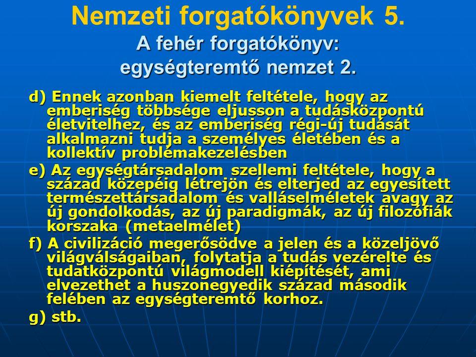 A fehér forgatókönyv: egységteremtő nemzet 2. Nemzeti forgatókönyvek 5.