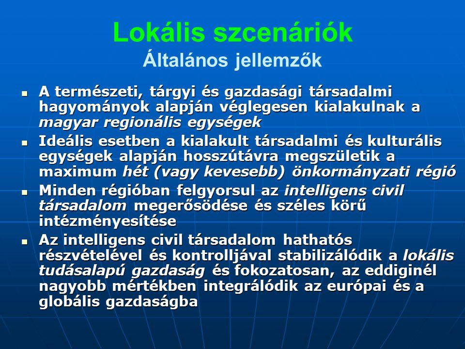 Lokális szcenáriók Általános jellemzők A természeti, tárgyi és gazdasági társadalmi hagyományok alapján véglegesen kialakulnak a magyar regionális egységek A természeti, tárgyi és gazdasági társadalmi hagyományok alapján véglegesen kialakulnak a magyar regionális egységek Ideális esetben a kialakult társadalmi és kulturális egységek alapján hosszútávra megszületik a maximum hét (vagy kevesebb) önkormányzati régió Ideális esetben a kialakult társadalmi és kulturális egységek alapján hosszútávra megszületik a maximum hét (vagy kevesebb) önkormányzati régió Minden régióban felgyorsul az intelligens civil társadalom megerősödése és széles körű intézményesítése Minden régióban felgyorsul az intelligens civil társadalom megerősödése és széles körű intézményesítése Az intelligens civil társadalom hathatós részvételével és kontrolljával stabilizálódik a lokális tudásalapú gazdaság és fokozatosan, az eddiginél nagyobb mértékben integrálódik az európai és a globális gazdaságba Az intelligens civil társadalom hathatós részvételével és kontrolljával stabilizálódik a lokális tudásalapú gazdaság és fokozatosan, az eddiginél nagyobb mértékben integrálódik az európai és a globális gazdaságba