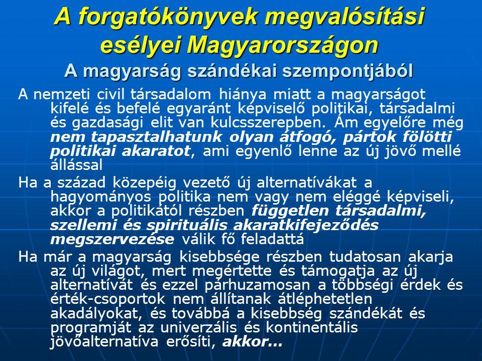 A forgatókönyvek megvalósítási esélyei Magyarországon A magyarság szándékai szempontjából A nemzeti civil társadalom hiánya miatt a magyarságot kifelé és befelé egyaránt képviselő politikai, társadalmi és gazdasági elit van kulcsszerepben.