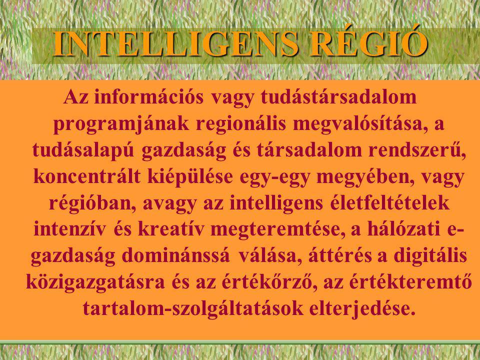 INTELLIGENS RÉGIÓ Az információs vagy tudástársadalom programjának regionális megvalósítása, a tudásalapú gazdaság és társadalom rendszerű, koncentrált kiépülése egy-egy megyében, vagy régióban, avagy az intelligens életfeltételek intenzív és kreatív megteremtése, a hálózati e- gazdaság dominánssá válása, áttérés a digitális közigazgatásra és az értékőrző, az értékteremtő tartalom-szolgáltatások elterjedése.