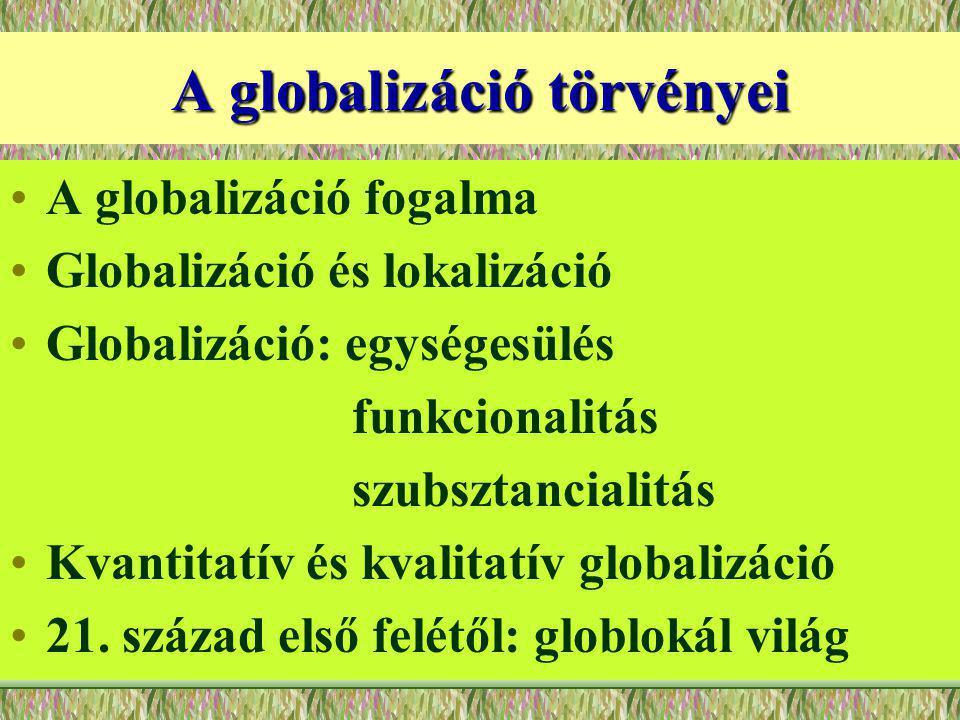 A globalizáció törvényei A globalizáció fogalma Globalizáció és lokalizáció Globalizáció: egységesülés funkcionalitás szubsztancialitás Kvantitatív és kvalitatív globalizáció 21.