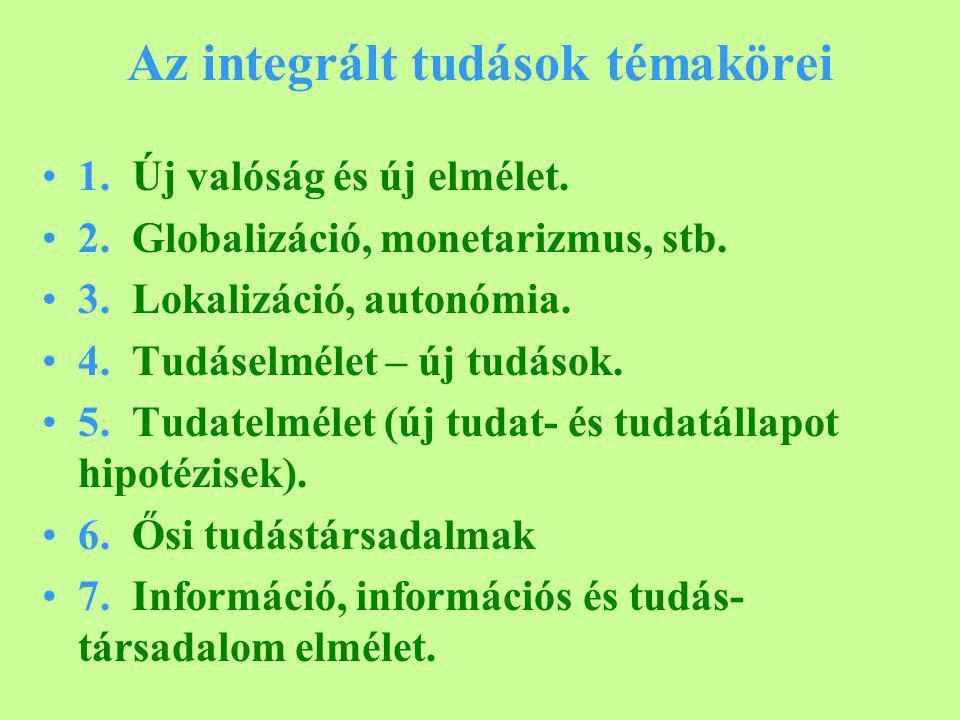 Az integrált tudások témakörei 1. Új valóság és új elmélet.