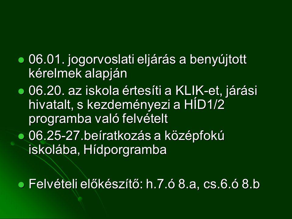06.01. jogorvoslati eljárás a benyújtott kérelmek alapján 06.01.