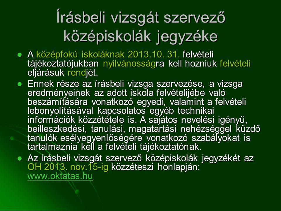 Írásbeli vizsgát szervező középiskolák jegyzéke A középfokú iskoláknak 2013.10.