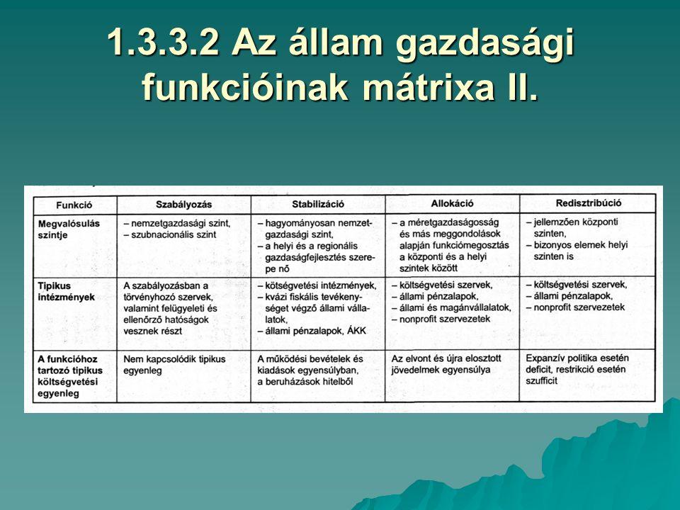 1.3.3.1 Az állam gazdasági funkcióinak mátrixa I.