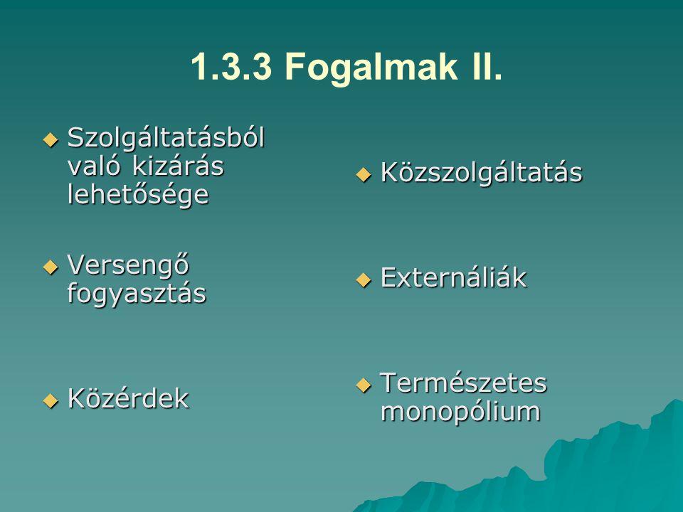 1.3.3.2 Az állam gazdasági funkcióinak mátrixa II.