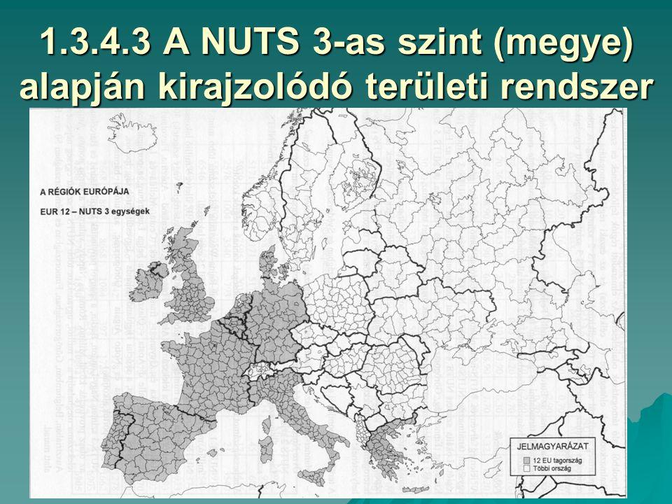 1.3.4.2 A NUTS 1, 2 és 3 területi egységek mérete - lakosságszám