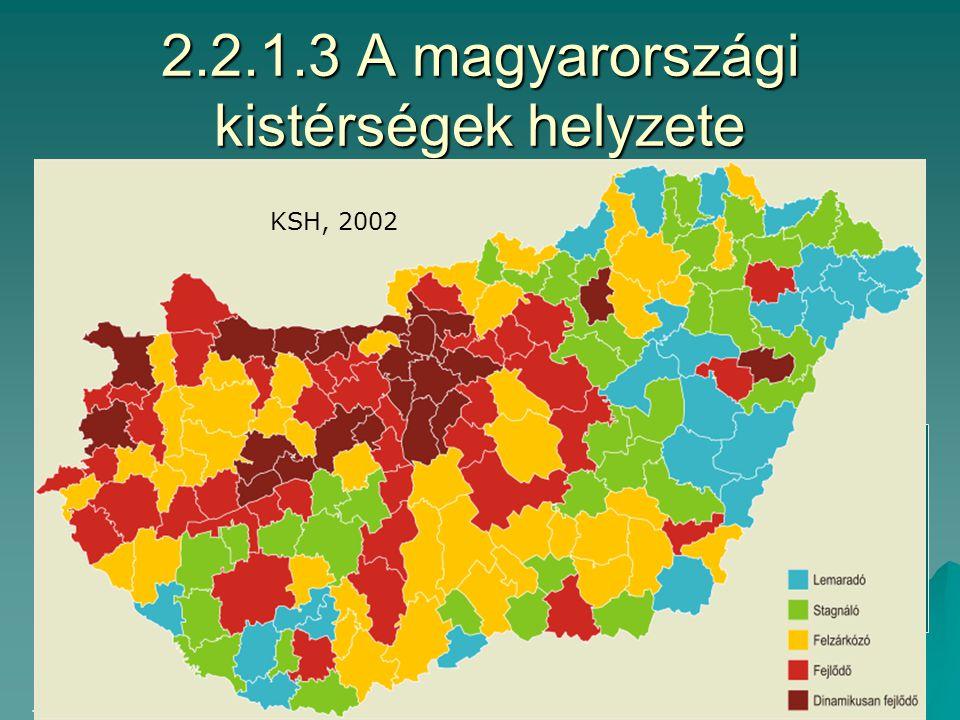 2.2.1.2 Regionális egyenlőtlenségek 2003: KMR/ÉM=2,5