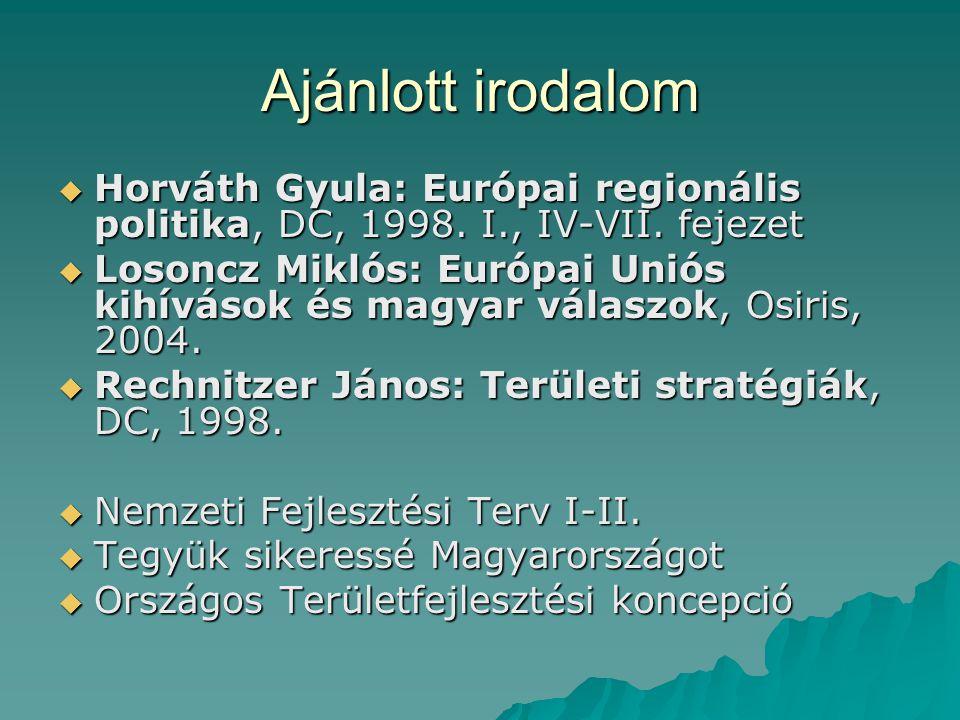 Kötelező irodalom  Vigvári András: Közpénzügyeink, önkormányzati pénzügyek, KJK, 2005.