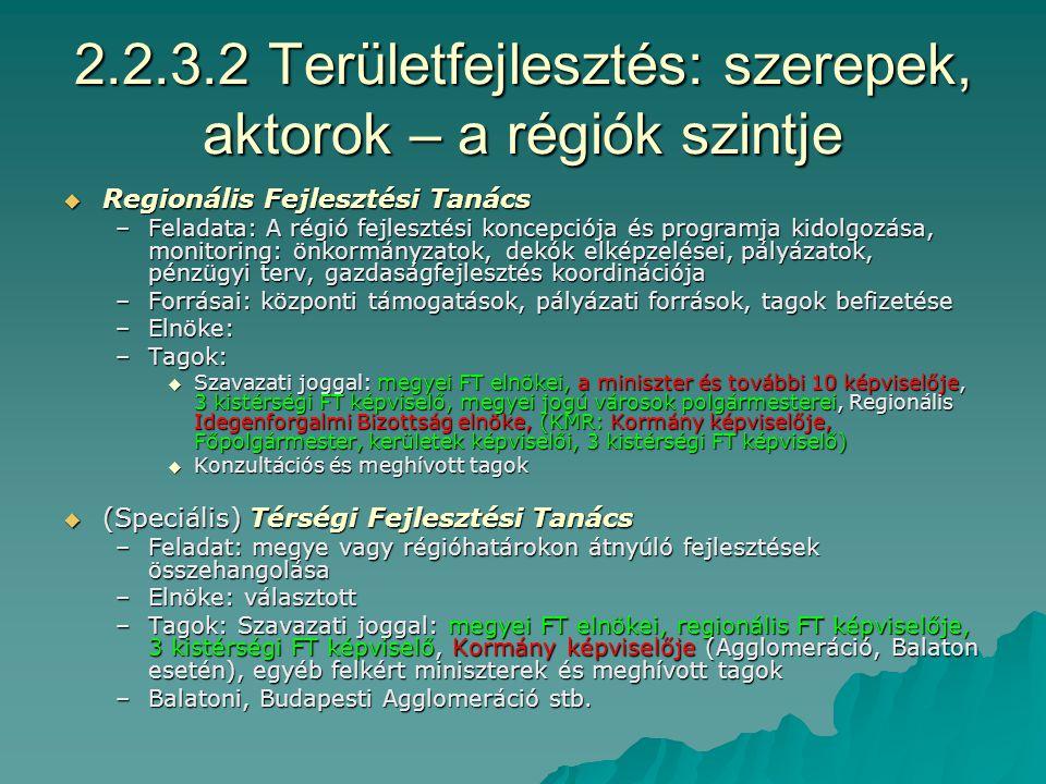 2.2.3.1.c Területfejlesztés: szerepek, aktorok – a országos szint III.