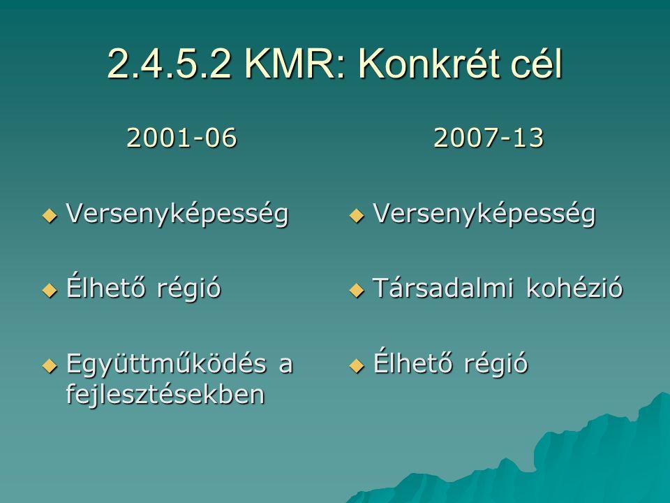 2.4.5.1 KMR: Átfogó cél 2001-06  Kiegyensúlyozott  Fenntartható és minőségelvű fejlődés fejlődés  Információs társadalom  Nemzetközi funkció 2007-13  Kreatív régió