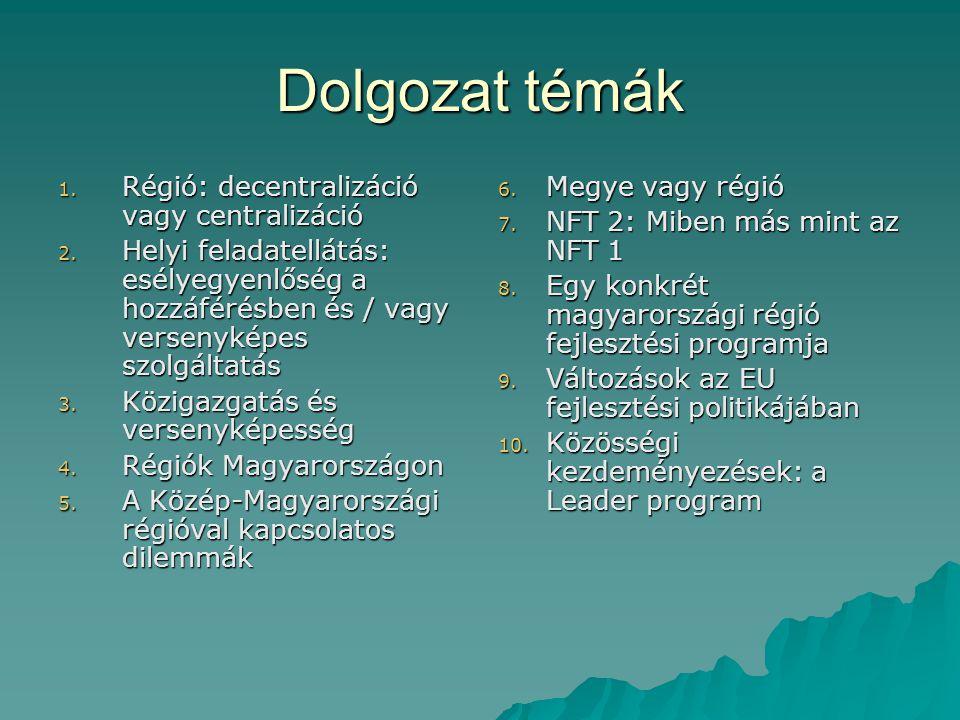 Jogszabályok  XXI/1996. tv. Területfejlesztésről…  LXV/1990.