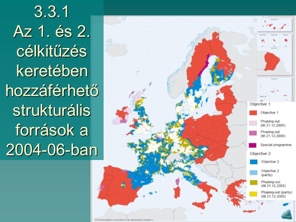 3.3 Az EU regionális politikájának forrásai  Strukturális alapok –Európai Regionális Fejlesztési Alap (ERDF/ERFA) –Európai Szociális Alap (ESF/ESzA) –Halászati Orientációs Pénzügyi Eszköz (FIFG/HOPE) –Európai Mezőgazdasági Orientációs és Garanciaalap (EAGGF/EMOGA)  Kohéziós alap