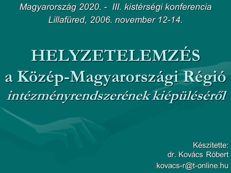 HELYZETELEMZÉS a Közép-Magyarországi Régió intézményrendszerének kiépüléséről Készítette: dr. Kovács Róbert kovacs-r@t-online.hu Magyarország 2020. -