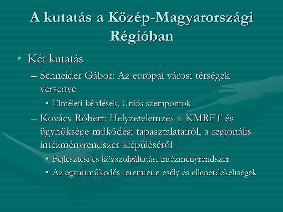 A kutatás a Közép-Magyarországi Régióban Két kutatásKét kutatás –Schneider Gábor: Az európai városi térségek versenye Elméleti kérdések, Uniós szempon
