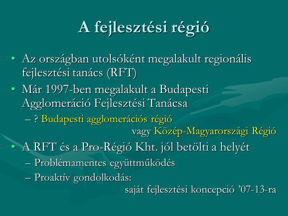 A fejlesztési régió Az országban utolsóként megalakult regionális fejlesztési tanács (RFT)Az országban utolsóként megalakult regionális fejlesztési ta