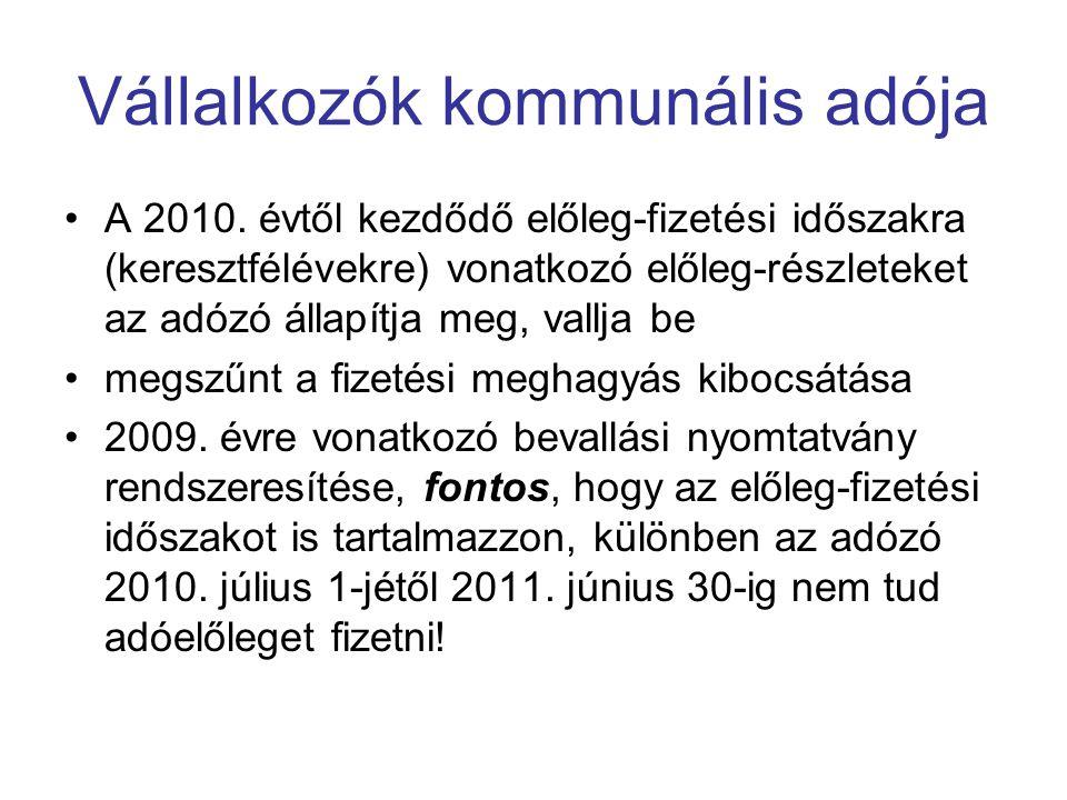 Vállalkozók kommunális adója A 2010.