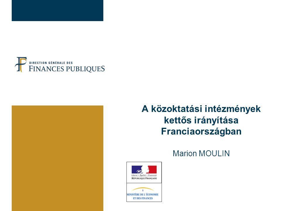 A közoktatási intézmények kettős irányítása Franciaországban Oktatásszervezés Közigazgatás szerkezete: decentralizáció és dekoncentráció A hatáskörök megosztása: állam / önkormányzatok Finanszírozás A gimnáziumok és collège-ek (kb ált.