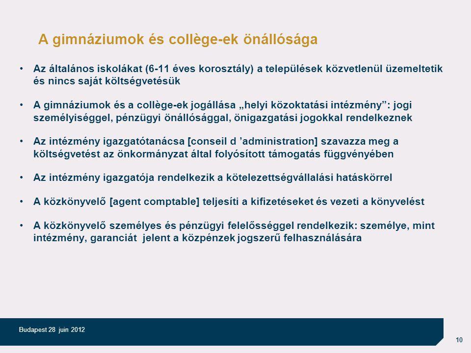 """10 Budapest 28 juin 2012 A gimnáziumok és collège-ek önállósága Az általános iskolákat (6-11 éves korosztály) a települések közvetlenül üzemeltetik és nincs saját költségvetésük A gimnáziumok és a collège-ek jogállása """"helyi közoktatási intézmény : jogi személyiséggel, pénzügyi önállósággal, önigazgatási jogokkal rendelkeznek Az intézmény igazgatótanácsa [conseil d 'administration] szavazza meg a költségvetést az önkormányzat által folyósított támogatás függvényében Az intézmény igazgatója rendelkezik a kötelezettségvállalási hatáskörrel A közkönyvelő [agent comptable] teljesíti a kifizetéseket és vezeti a könyvelést A közkönyvelő személyes és pénzügyi felelősséggel rendelkezik: személye, mint intézmény, garanciát jelent a közpénzek jogszerű felhasználására"""