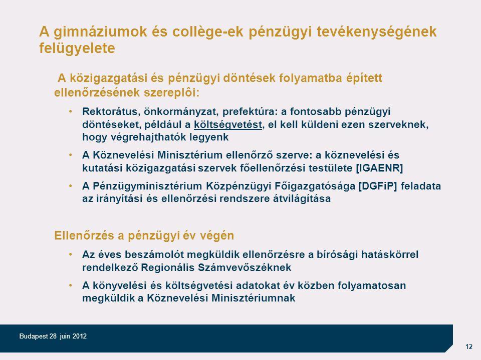 12 Budapest 28 juin 2012 A gimnáziumok és collège-ek pénzügyi tevékenységének felügyelete A közigazgatási és pénzügyi döntések folyamatba épített ellenőrzésének szereplôi: Rektorátus, önkormányzat, prefektúra: a fontosabb pénzügyi döntéseket, például a költségvetést, el kell küldeni ezen szerveknek, hogy végrehajthatók legyenk A Köznevelési Minisztérium ellenőrző szerve: a köznevelési és kutatási közigazgatási szervek főellenőrzési testülete [IGAENR] A Pénzügyminisztérium Közpénzügyi Főigazgatósága [DGFiP] feladata az irányítási és ellenőrzési rendszere átvilágítása Ellenőrzés a pénzügyi év végén Az éves beszámolót megküldik ellenőrzésre a bírósági hatáskörrel rendelkező Regionális Számvevőszéknek A könyvelési és költségvetési adatokat év közben folyamatosan megküldik a Köznevelési Minisztériumnak