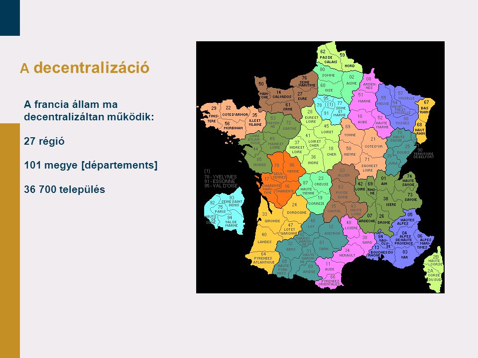 A decentralizáció A francia állam ma decentralizáltan működik: 27 régió 101 megye [départements] 36 700 település